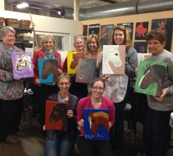 Painting Party Fundraiser with MY Horses Art in MY Designs studio